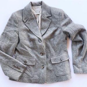 LL Bean Blazer Work Tweed Wool Size Small